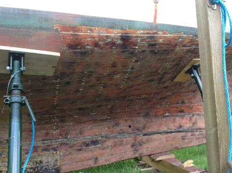 Back aching, arms aching, and only about 15% of the hull stripped.