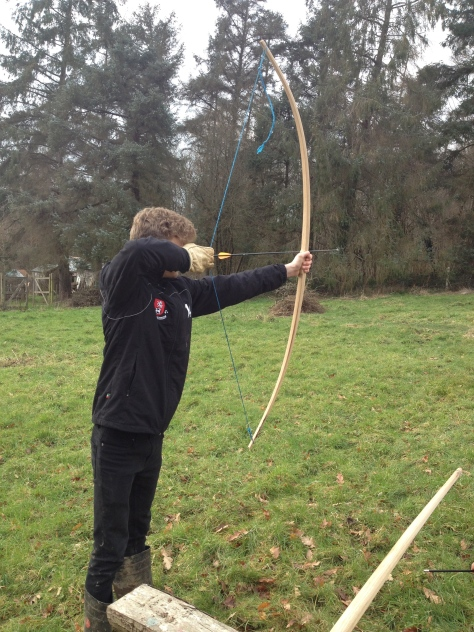 Luke testing one of the longbows.... turns out its not as easy as Legolas makes it look