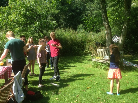 Outdoor Darts with offspring and their hangers on.